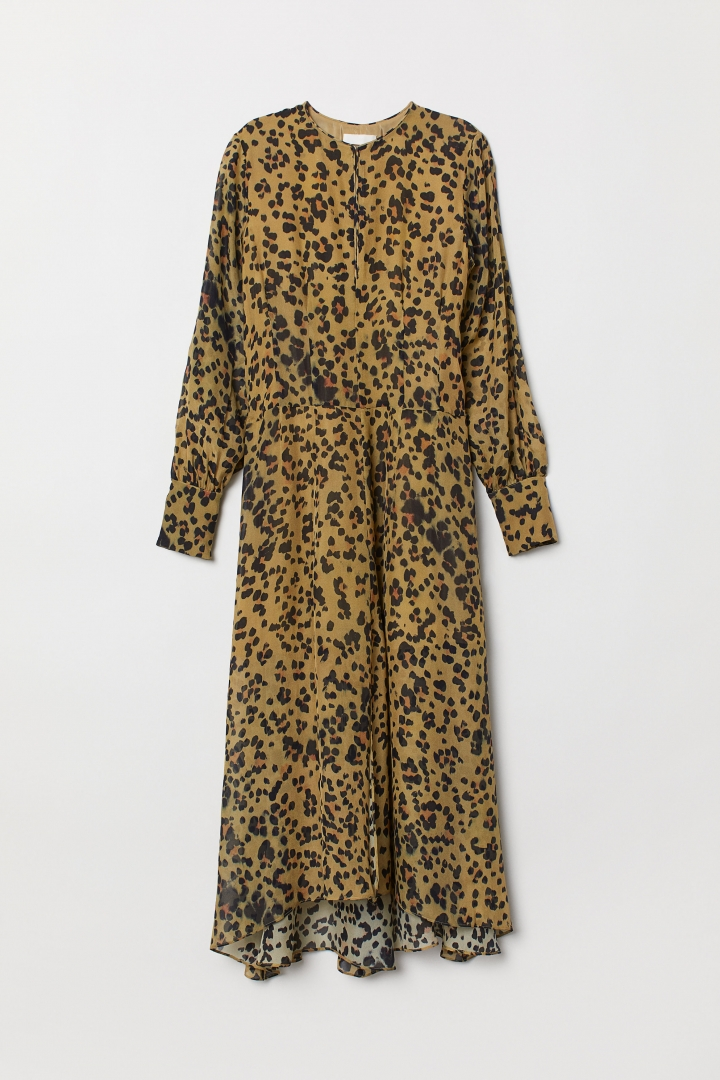 cheap price great look official shop Leopard-print silk dress - Olive green/Leopard print| H&M CN